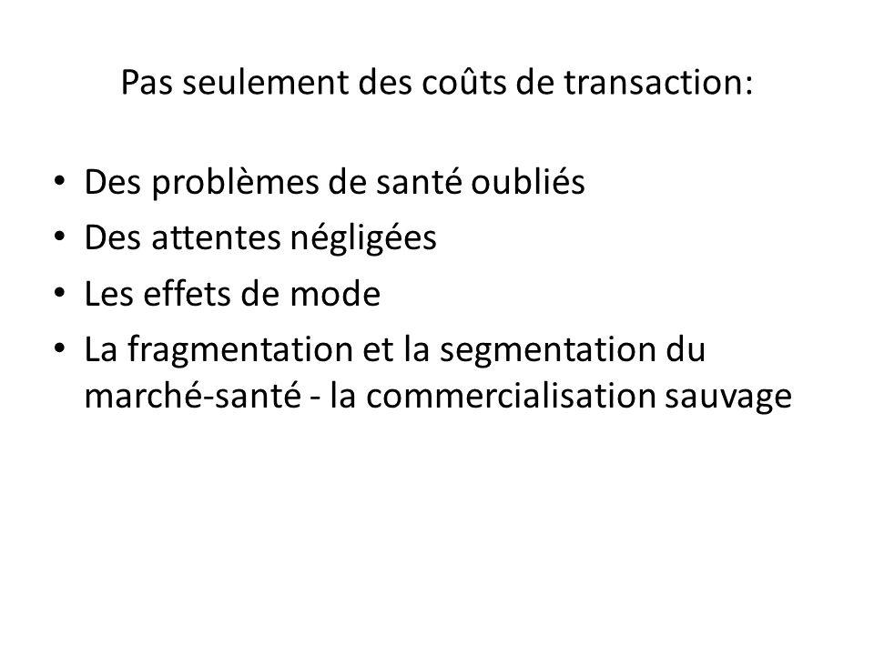 Pas seulement des coûts de transaction: Des problèmes de santé oubliés Des attentes négligées Les effets de mode La fragmentation et la segmentation du marché-santé - la commercialisation sauvage
