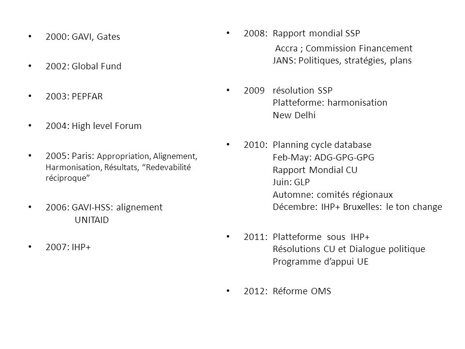 2000: GAVI, Gates 2002: Global Fund 2003: PEPFAR 2004: High level Forum 2005: Paris: Appropriation, Alignement, Harmonisation, Résultats, Redevabilité réciproque 2006: GAVI-HSS: alignement UNITAID 2007: IHP+ 2008: Rapport mondial SSP Accra ; Commission Financement JANS: Politiques, stratégies, plans 2009résolution SSP Platteforme: harmonisation New Delhi 2010: Planning cycle database Feb-May: ADG-GPG-GPG Rapport Mondial CU Juin: GLP Automne: comités régionaux Décembre: IHP+ Bruxelles: le ton change 2011: Platteforme sous IHP+ Résolutions CU et Dialogue politique Programme dappui UE 2012:Réforme OMS