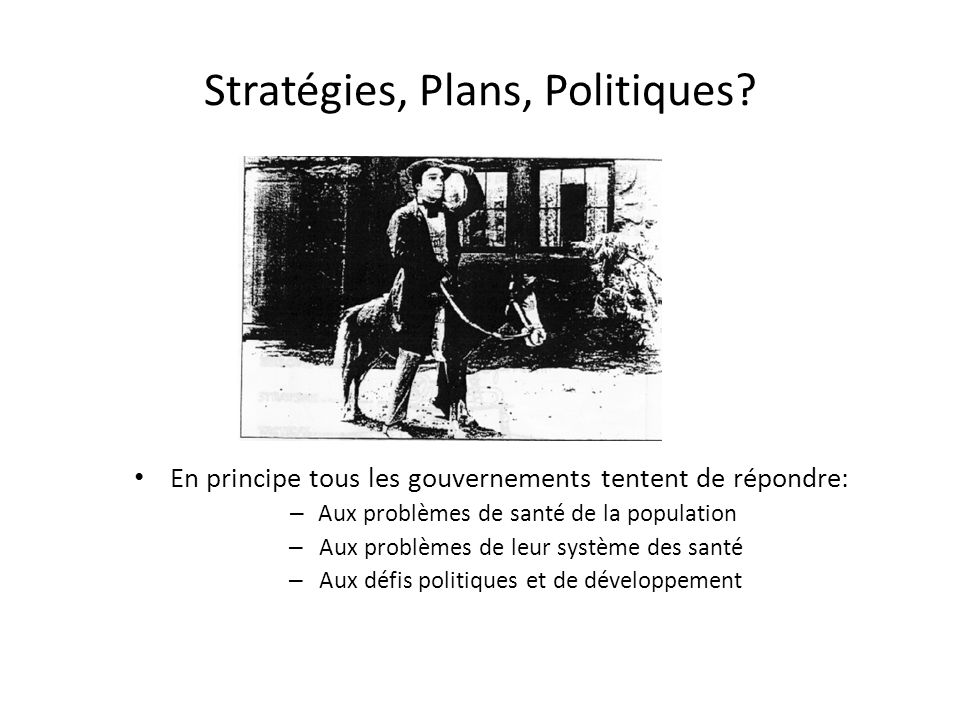Stratégies, Plans, Politiques.