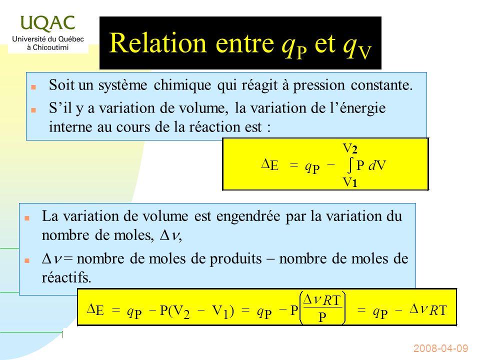 G = H - T S 2008-04-09 Lenthalpie Comme w = P V, cela entraîne que H = q P.