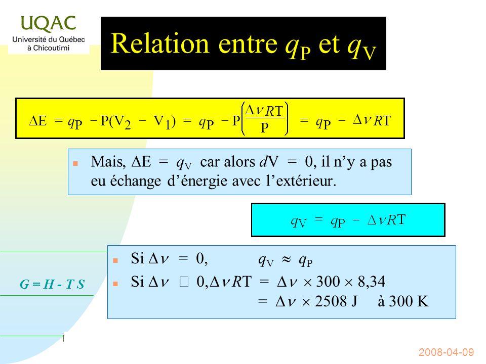 G = H - T S 2008-04-09 Relation entre q P et q V n Soit un système chimique qui réagit à pression constante.