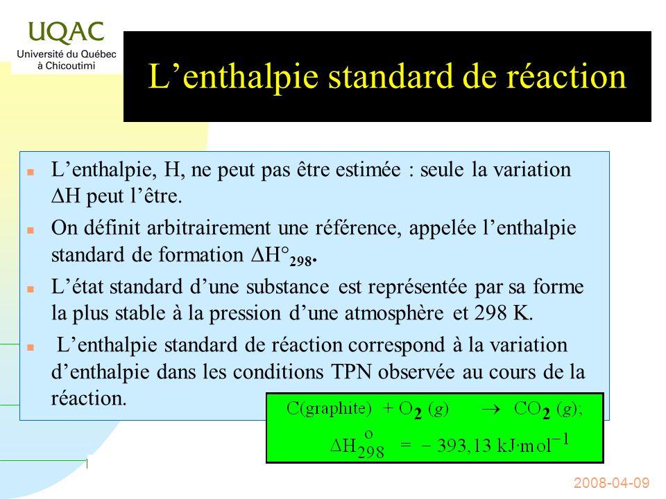 G = H - T S 2008-04-09 Relation entre q P et q V Mais, E = q V car alors dV = 0, il ny a pas eu échange dénergie avec lextérieur.