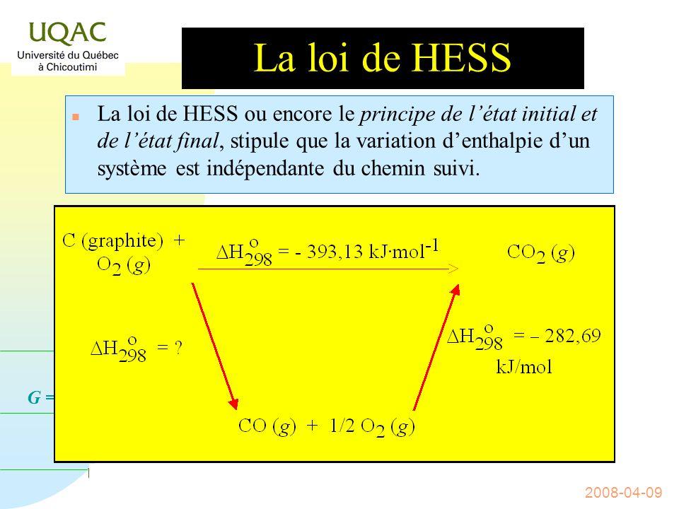 G = H - T S 2008-04-09 Lenthalpie standard de réaction