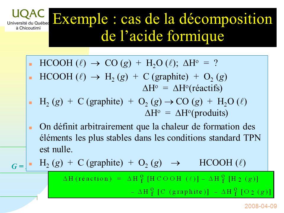 G = H - T S 2008-04-09 Lenthalpie standard de formation n On peut donc expérimentalement déterminer les enthalpies standards dun bon nombre de réactions et n de proche en proche, déterminer celles des autres en utilisant la loi de HESS : Constitution de tables.