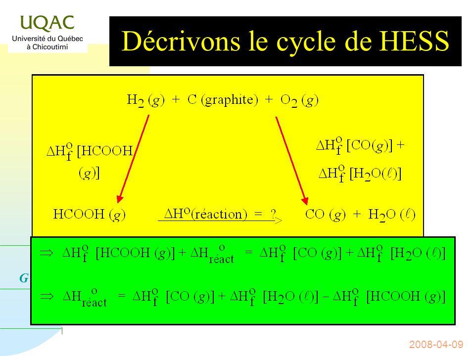 G = H - T S 2008-04-09 n De la même manière : Exemple : cas de la décomposition de lacide formique