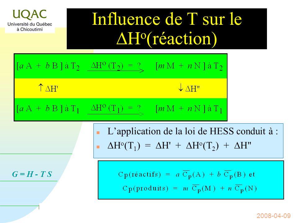 G = H - T S 2008-04-09 Influence de T sur le H o (réaction) Soit la réaction a A + b B m M + n N ; H = .