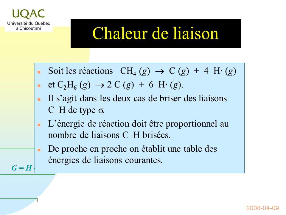 G = H - T S 2008-04-09 Le cas de leau Quelle énergie faut-il fournir à x g de glace à 10 °C pour la transformer en x g de vapeur deau à 100 ° C .