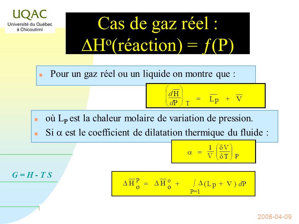 G = H - T S 2008-04-09 Influence de la pression sur le H o (réaction) n Comment varie la fonction enthalpie avec la pression .