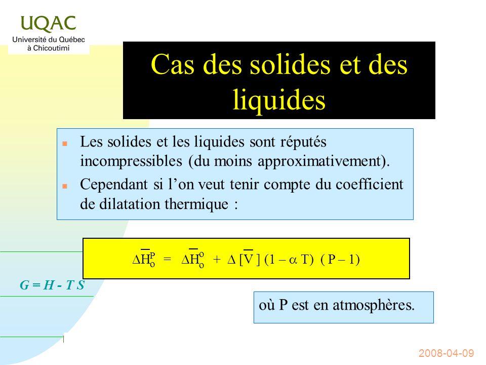 G = H - T S 2008-04-09 Cas de gaz réel idéal H o (réaction) = ƒ(P) n Pour un gaz réel idéal le produit PV est constant.