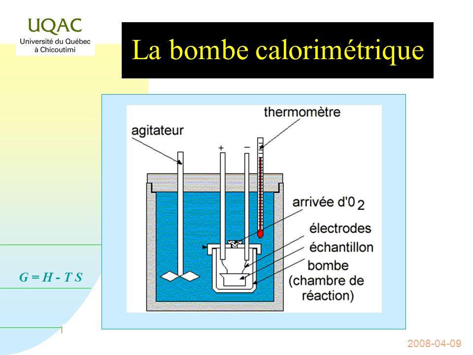 G = H - T S 2008-04-09 Le calorimètre