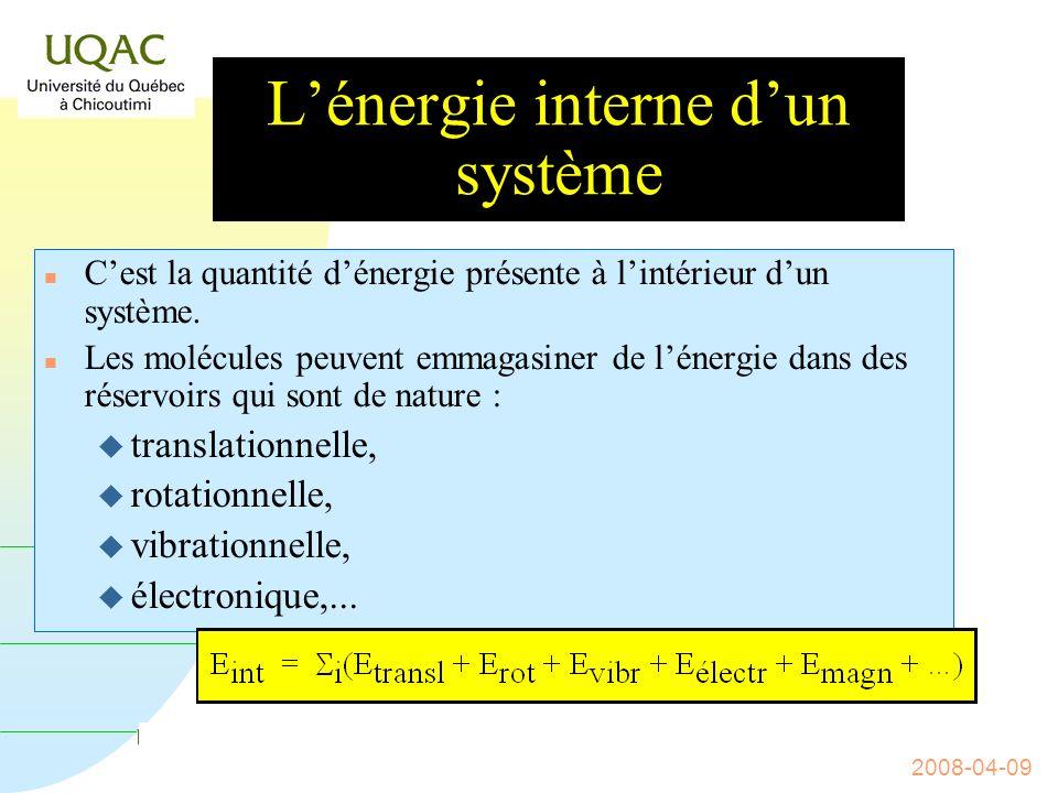 G = H - T S 2008-04-09 Postulat n Au cours de toute transformation physique, chimique, biologique, magnétique, nucléaire,...
