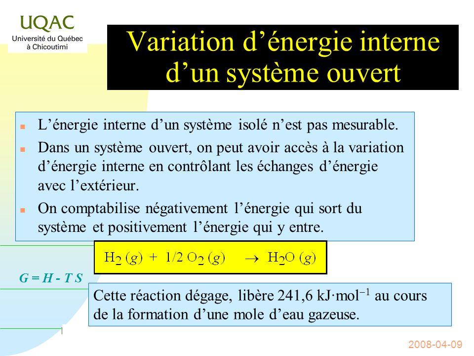 G = H - T S 2008-04-09 Lénergie interne dun système n Cest la quantité dénergie présente à lintérieur dun système.