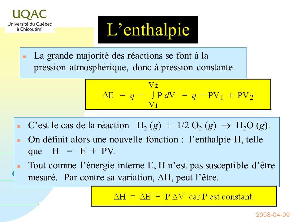 G = H - T S 2008-04-09 Si V est constant, w = 0 et si V 0, w 0.