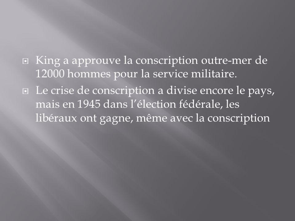 King a approuve la conscription outre-mer de 12000 hommes pour la service militaire.