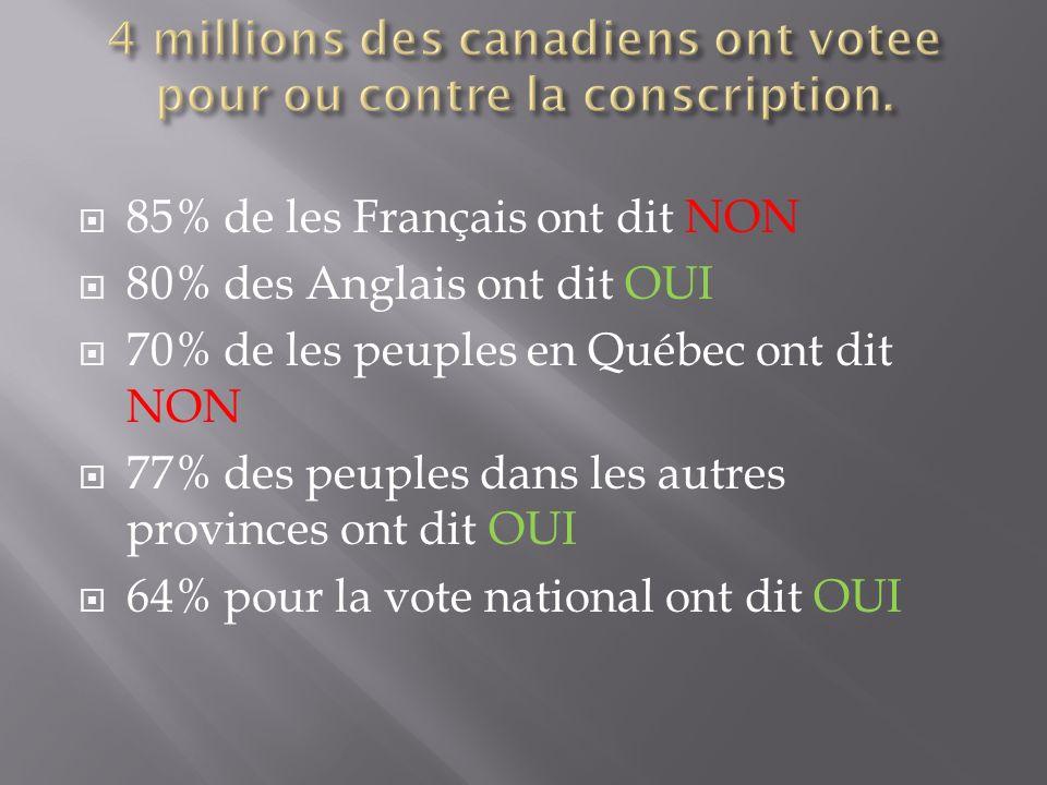 85% de les Français ont dit NON 80% des Anglais ont dit OUI 70% de les peuples en Québec ont dit NON 77% des peuples dans les autres provinces ont dit OUI 64% pour la vote national ont dit OUI