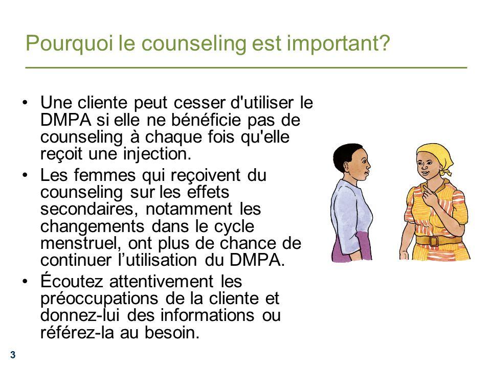444 Le counseling aide les clientes à continuer lutilisation Les changement dans le cycle menstruel et les saignements sont la cause la plus fréquente de la cessation de lutilisation des injectables par les femmes.