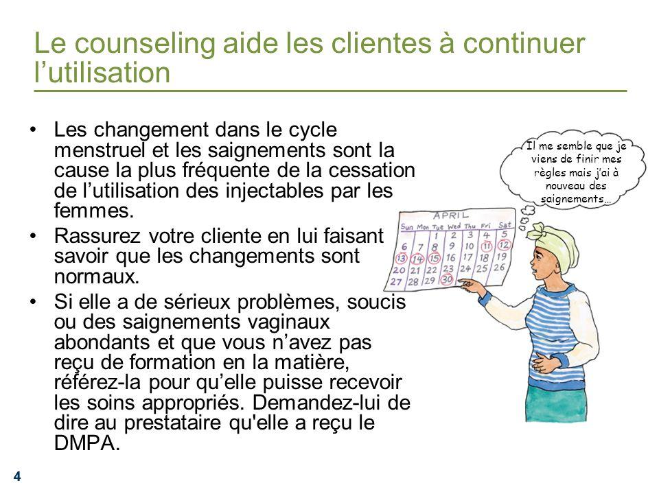 444 Le counseling aide les clientes à continuer lutilisation Les changement dans le cycle menstruel et les saignements sont la cause la plus fréquente