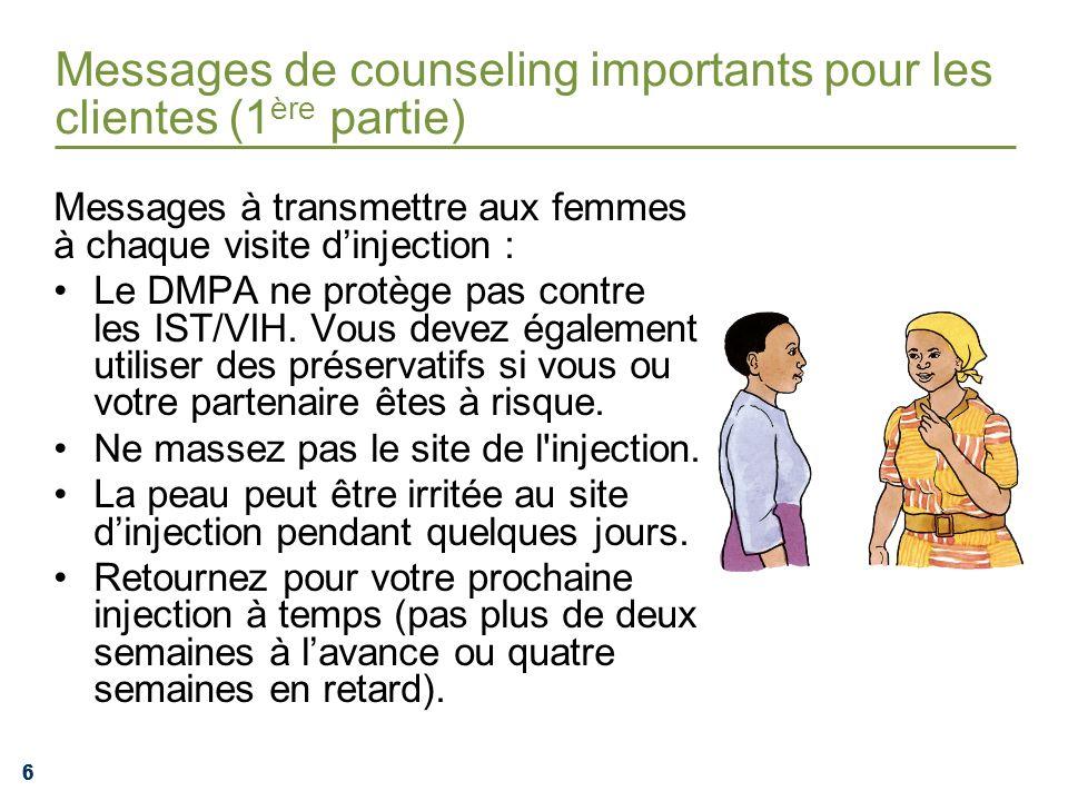 666 Messages de counseling importants pour les clientes (1 ère partie) Messages à transmettre aux femmes à chaque visite dinjection : Le DMPA ne protè