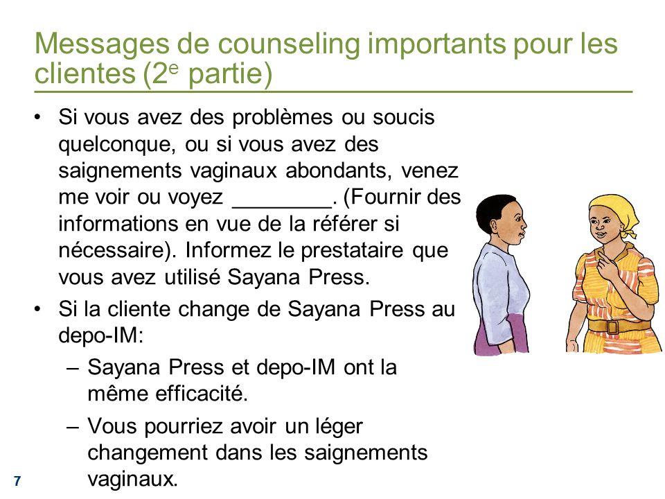 777 Messages de counseling importants pour les clientes (2 e partie) Si vous avez des problèmes ou soucis quelconque, ou si vous avez des saignements