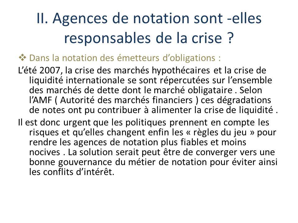 II. Agences de notation sont -elles responsables de la crise ? Dans la notation des émetteurs dobligations : Lété 2007, la crise des marchés hypothéca