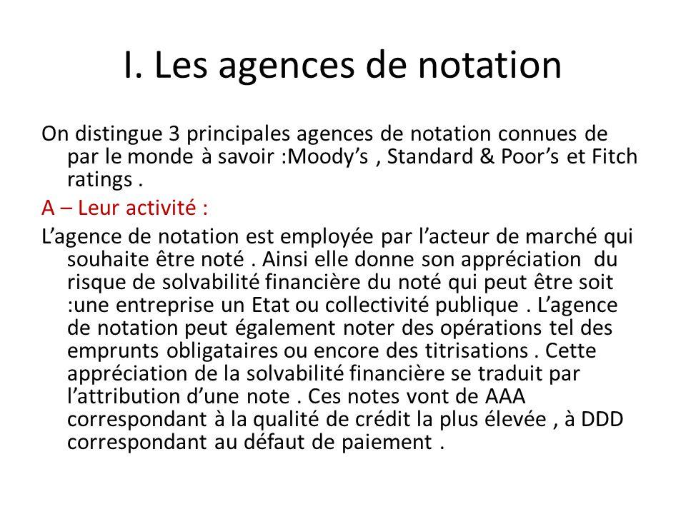 I.Les agences de notation A- Leur activité Le Maroc se place juste au milieu avec un BBB.