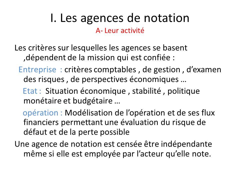 I. Les agences de notation A- Leur activité Les critères sur lesquelles les agences se basent,dépendent de la mission qui est confiée : Entreprise : c