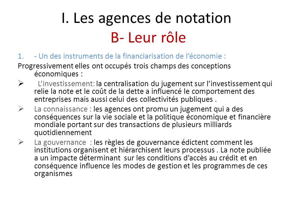 I. Les agences de notation B- Leur rôle 1.- Un des instruments de la financiarisation de léconomie : Progressivement elles ont occupés trois champs de