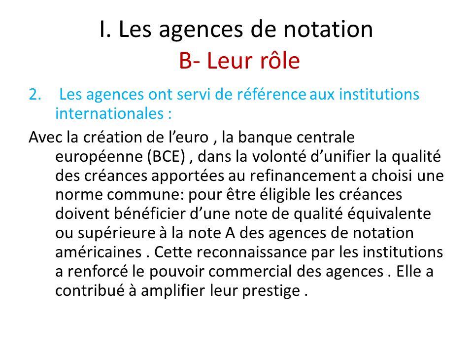 I. Les agences de notation B- Leur rôle 2. Les agences ont servi de référence aux institutions internationales : Avec la création de leuro, la banque