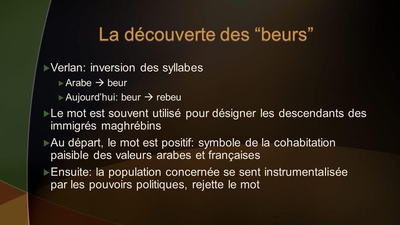 Verlan: inversion des syllabes Arabe beur Aujourdhui: beur rebeu Le mot est souvent utilisé pour désigner les descendants des immigrés maghrébins Au d