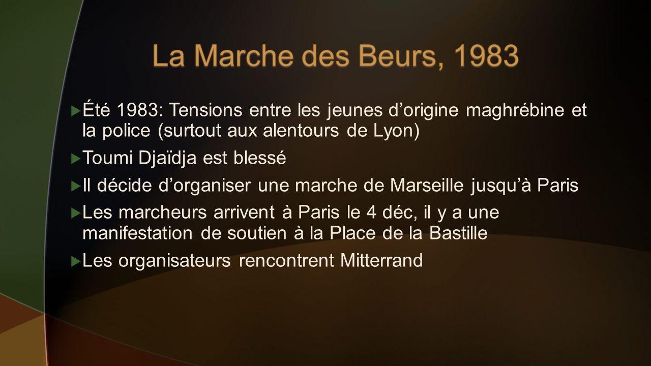 Été 1983: Tensions entre les jeunes dorigine maghrébine et la police (surtout aux alentours de Lyon) Toumi Djaïdja est blessé Il décide dorganiser une