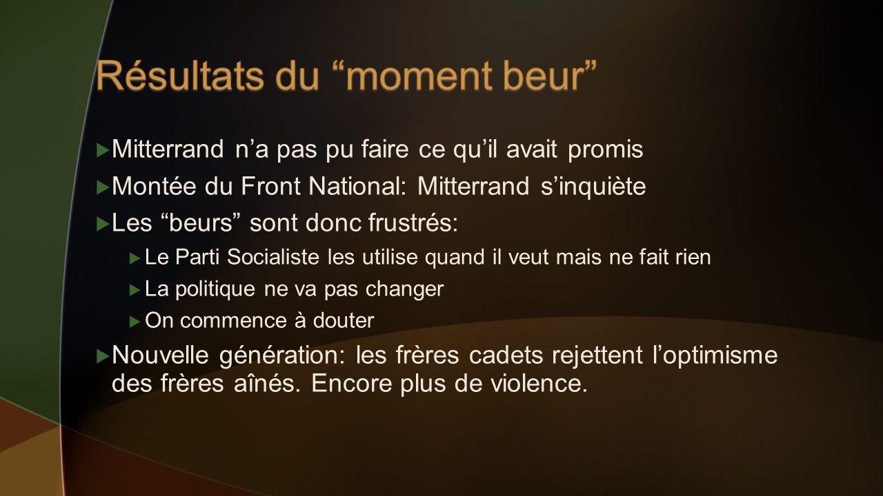 Mitterrand na pas pu faire ce quil avait promis Montée du Front National: Mitterrand sinquiète Les beurs sont donc frustrés: Le Parti Socialiste les u
