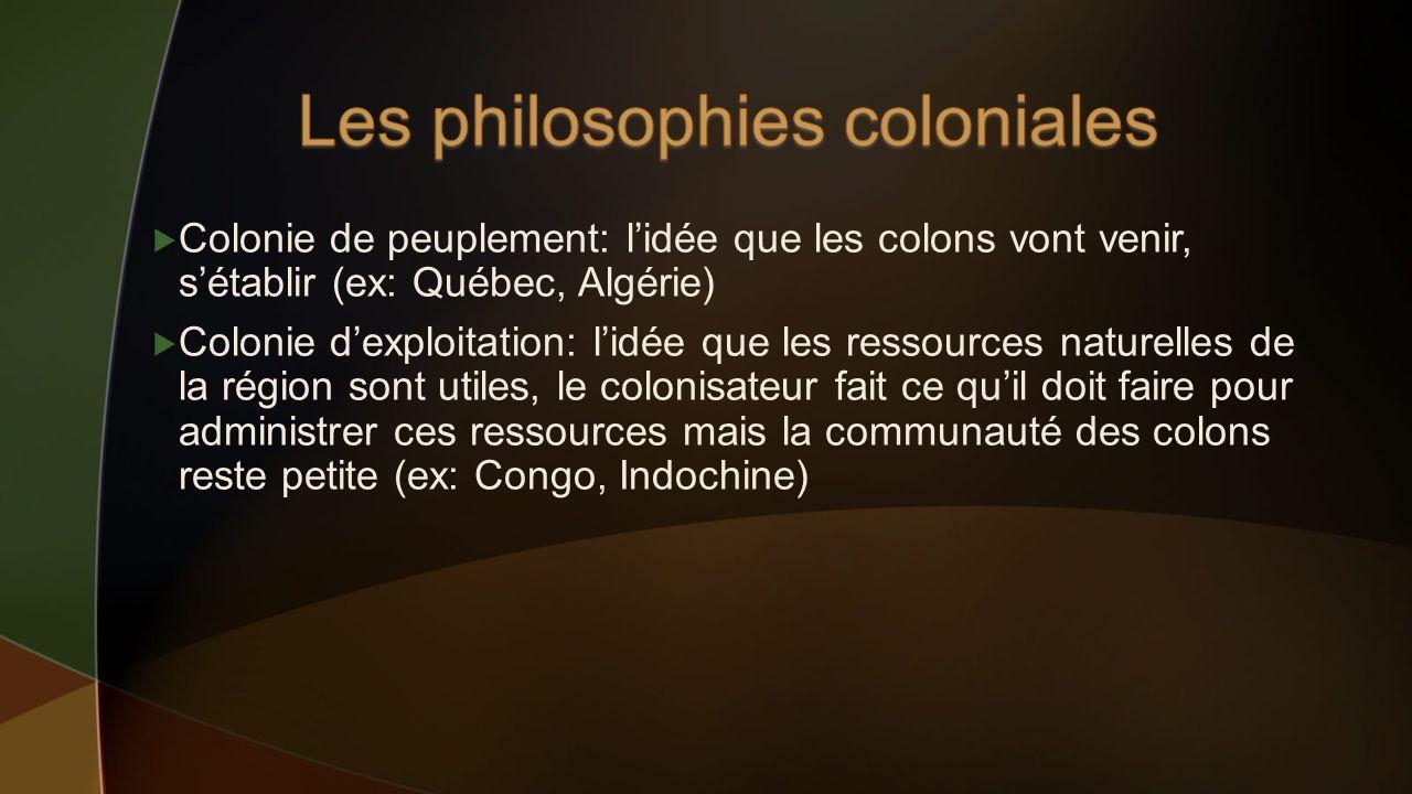 Colonie de peuplement: lidée que les colons vont venir, sétablir (ex: Québec, Algérie) Colonie dexploitation: lidée que les ressources naturelles de l