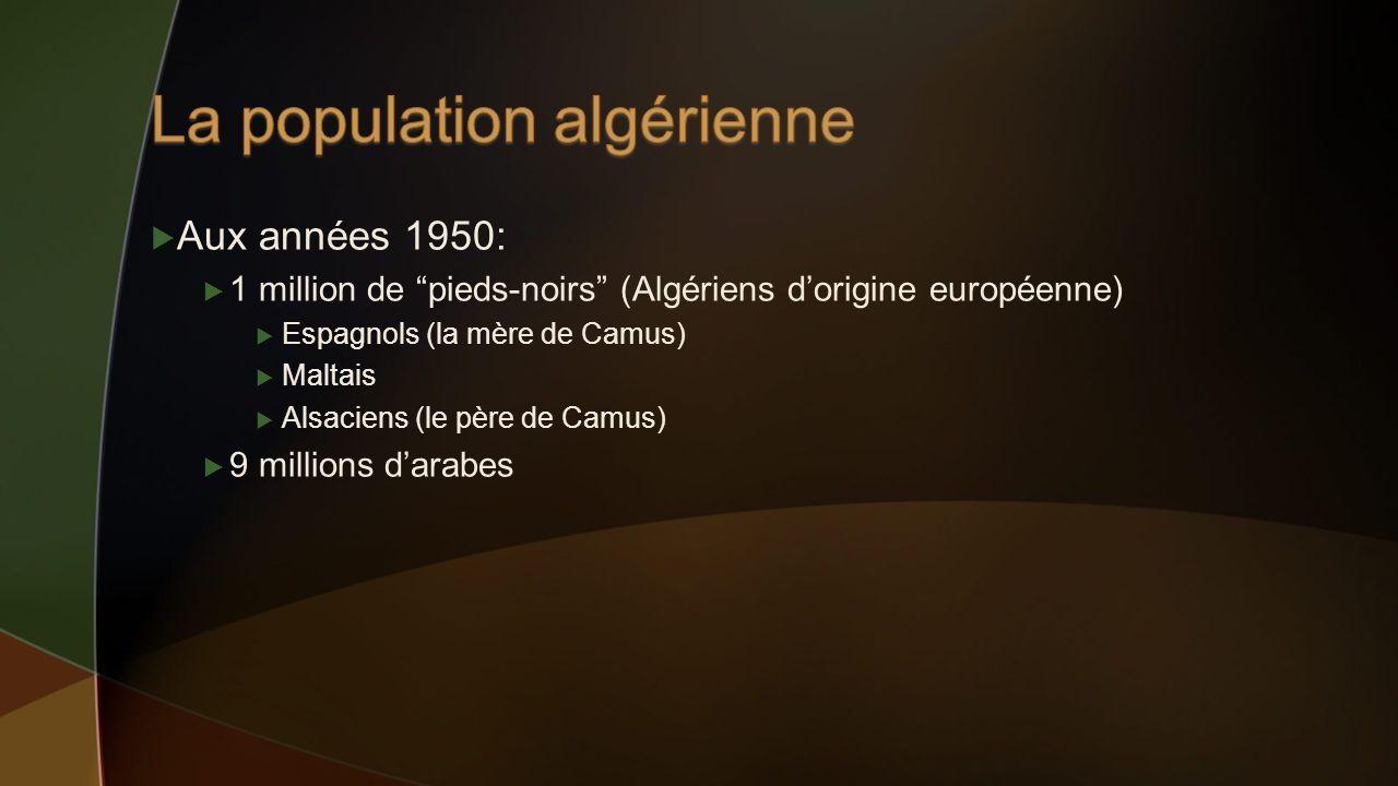 Aux années 1950: 1 million de pieds-noirs (Algériens dorigine européenne) Espagnols (la mère de Camus) Maltais Alsaciens (le père de Camus) 9 millions