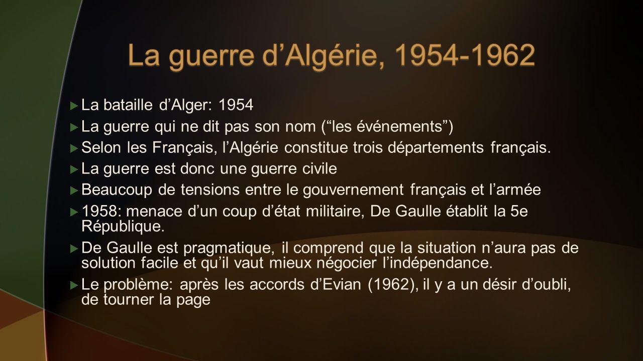 La bataille dAlger: 1954 La guerre qui ne dit pas son nom (les événements) Selon les Français, lAlgérie constitue trois départements français. La guer