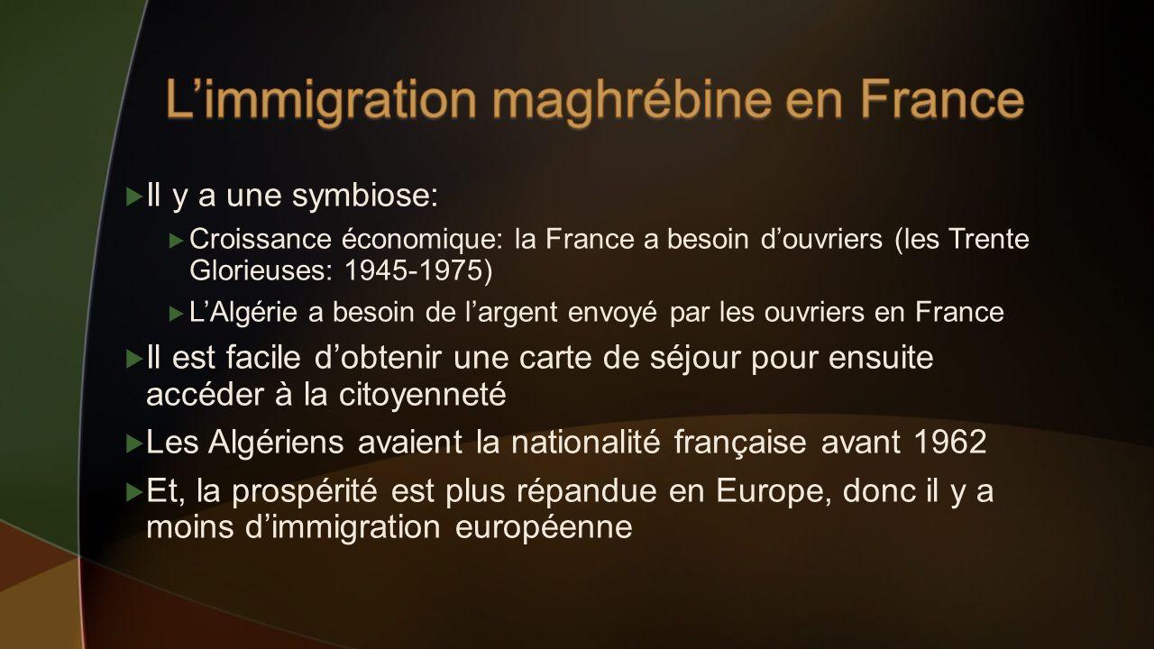 Il y a une symbiose: Croissance économique: la France a besoin douvriers (les Trente Glorieuses: 1945-1975) LAlgérie a besoin de largent envoyé par le