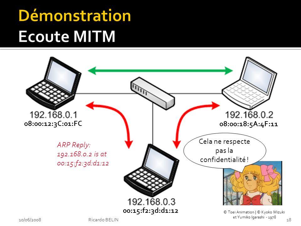 10/06/200818Ricardo BELIN ARP Reply: 192.168.0.2 is at 00:15:f2:3d:d1:12 ARP Reply: 192.168.0.1 is at 00:15:f2:3d:d1:12 Cela ne respecte pas la confidentialité .