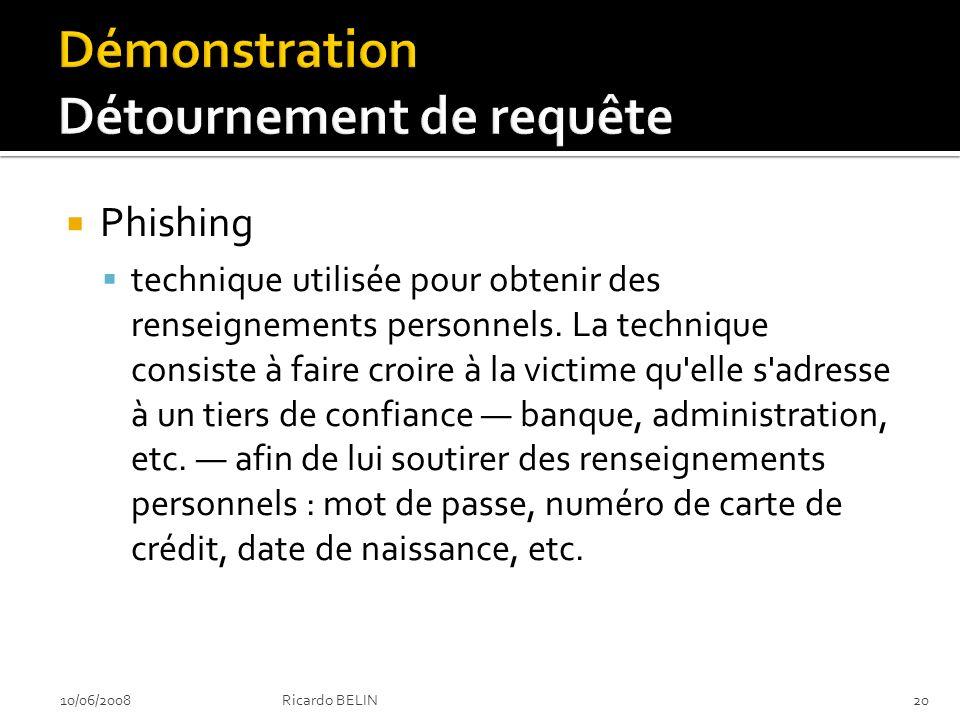 Phishing technique utilisée pour obtenir des renseignements personnels.