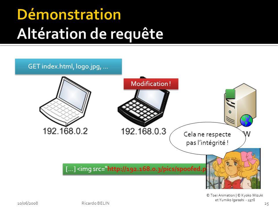 GET index.html, logo.jpg, … Modification . […] Cela ne respecte pas lintégrité .