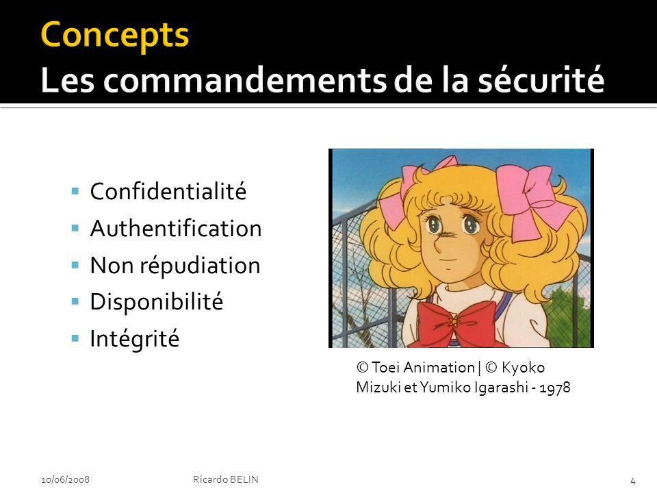 Le fameux CANDI Confidentialité Authentification Non répudiation Disponibilité Intégrité © Toei Animation | © Kyoko Mizuki et Yumiko Igarashi - 1978 10/06/20084Ricardo BELIN