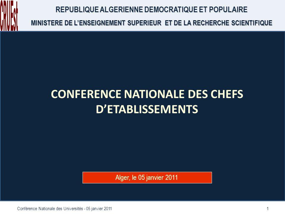 1Conférence Nationale des Universités - 05 janvier 2011 REPUBLIQUE ALGERIENNE DEMOCRATIQUE ET POPULAIRE MINISTERE DE LENSEIGNEMENT SUPERIEUR ET DE LA RECHERCHE SCIENTIFIQUE CONFERENCE NATIONALE DES CHEFS DETABLISSEMENTS Alger, le 05 janvier 2011