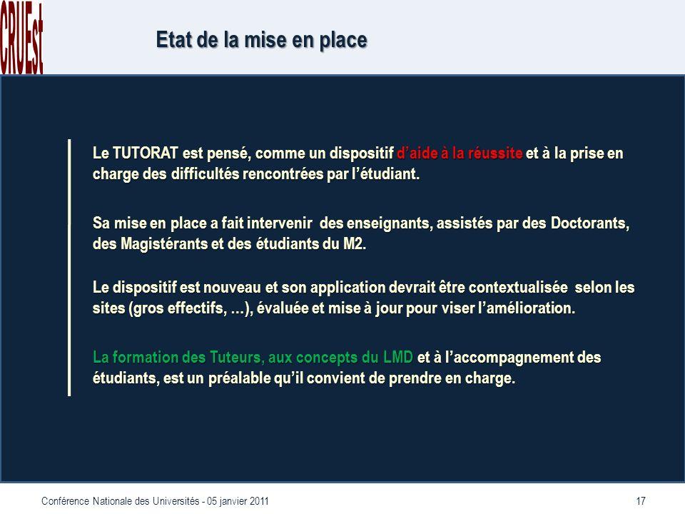 17Conférence Nationale des Universités - 05 janvier 2011 Etat de la mise en place Le TUTORAT est pensé, comme un dispositif daide à la réussite et à la prise en charge des difficultés rencontrées par létudiant.