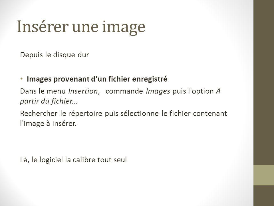 Insérer une image Depuis le disque dur Images provenant d'un fichier enregistré Dans le menu Insertion, commande Images puis l'option A partir du fich