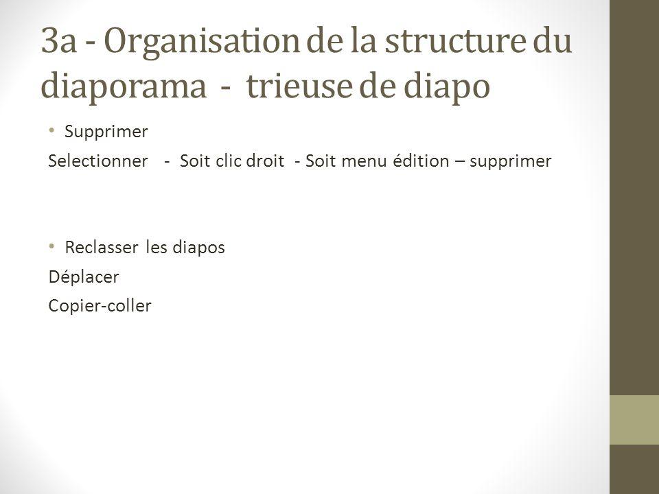 3a - Organisation de la structure du diaporama - trieuse de diapo Supprimer Selectionner - Soit clic droit - Soit menu édition – supprimer Reclasser l
