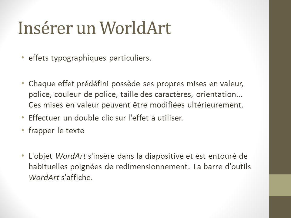 Insérer un WorldArt effets typographiques particuliers. Chaque effet prédéfini possède ses propres mises en valeur, police, couleur de police, taille