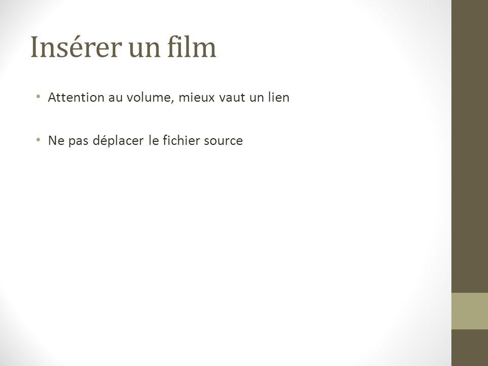 Insérer un film Attention au volume, mieux vaut un lien Ne pas déplacer le fichier source