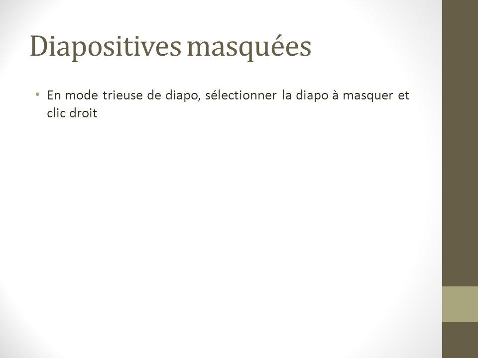 Diapositives masquées En mode trieuse de diapo, sélectionner la diapo à masquer et clic droit