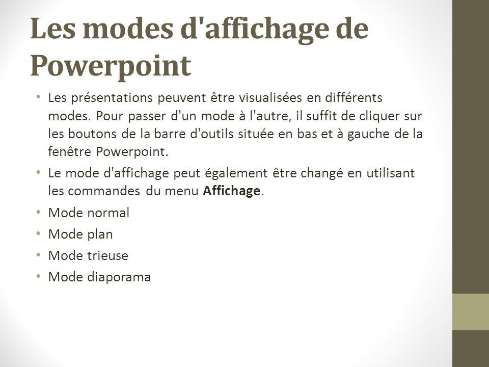 Les modes d'affichage de Powerpoint Les présentations peuvent être visualisées en différents modes. Pour passer d'un mode à l'autre, il suffit de cliq