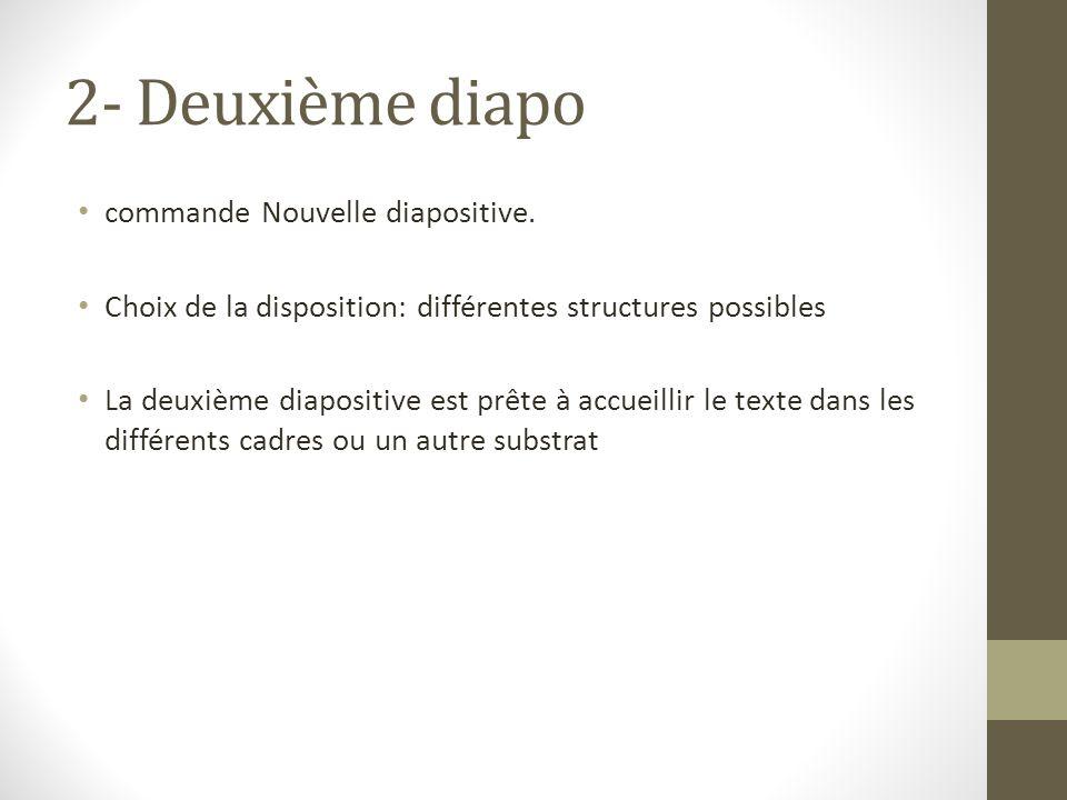2- Deuxième diapo commande Nouvelle diapositive. Choix de la disposition: différentes structures possibles La deuxième diapositive est prête à accueil