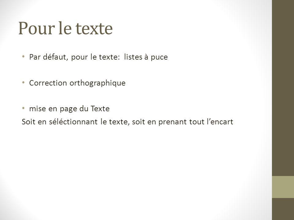 Pour le texte Par défaut, pour le texte: listes à puce Correction orthographique mise en page du Texte Soit en séléctionnant le texte, soit en prenant