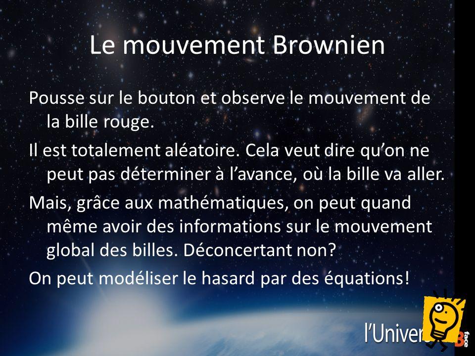 Le mouvement Brownien Pousse sur le bouton et observe le mouvement de la bille rouge.